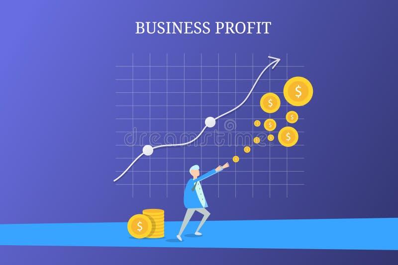 组织的商人增长的赢利,创造收支,金钱,增长的企业图表 库存例证