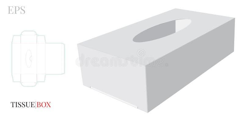 组织箱子模板,与冲切的/激光插队的传染媒介 白色,清楚,空白,被隔绝的组织箱子嘲笑在白色背景 向量例证