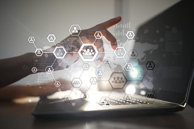组织结构图,人` s通讯网络 HR,人力资源 免版税库存照片
