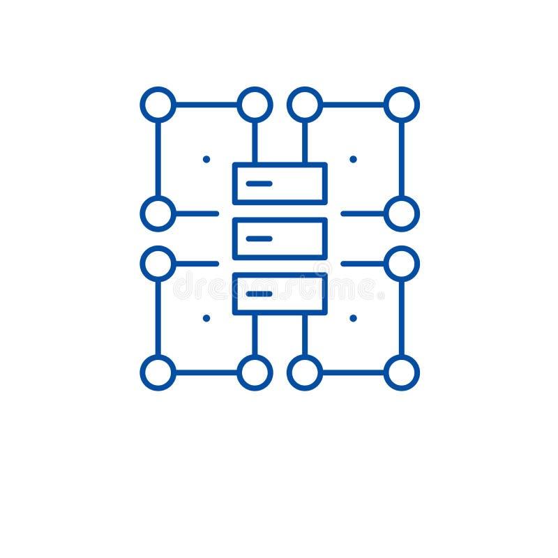 组织结构线象概念 组织结构平的传染媒介标志,标志,概述例证 向量例证