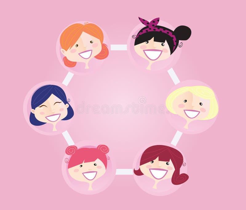 组网络连接妇女 库存例证