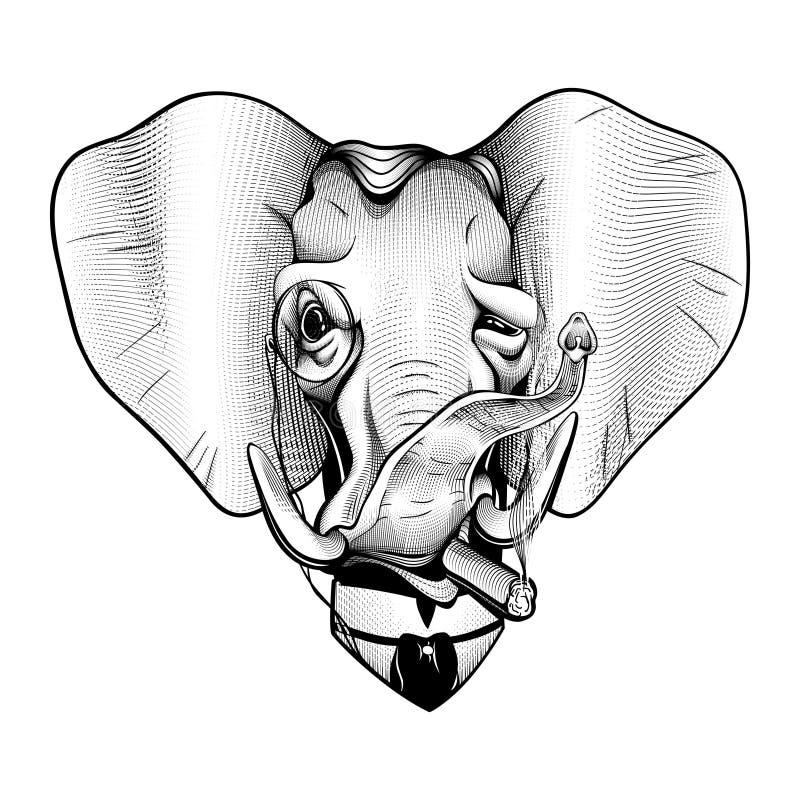 绅士大象维多利亚女王时代的百万富翁美国共和党典雅的爱国黑白色 库存例证