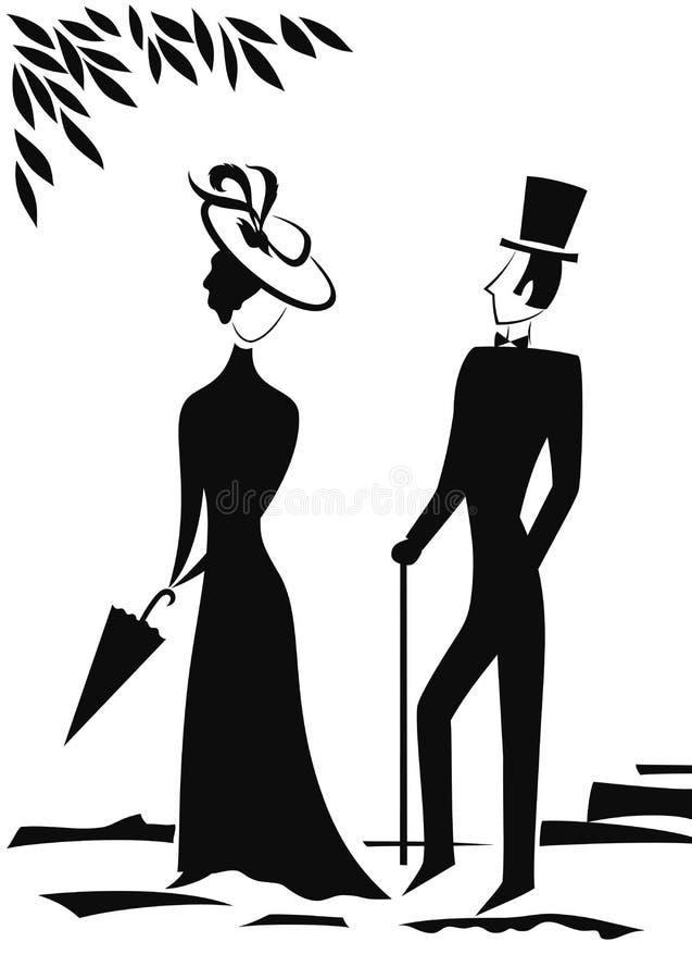 绅士夫人剪影 向量例证