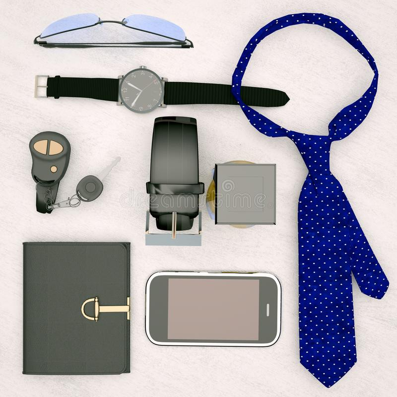 绅士成套工具-人在木背景隔绝的` s辅助部件 免版税库存图片