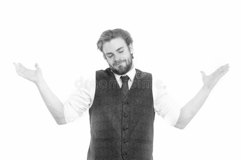 绅士或人或微笑绅士背心和领带的 免版税库存图片