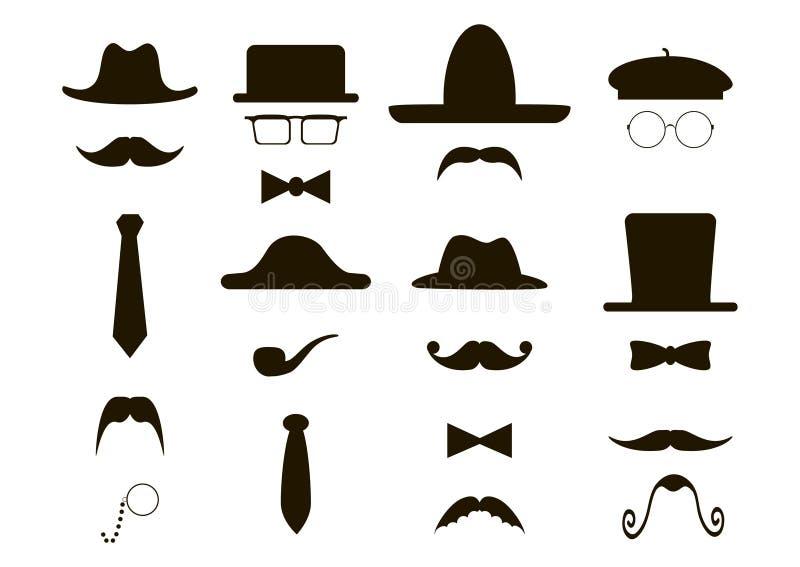 绅士象-帽子,髭,管子,弓 库存图片