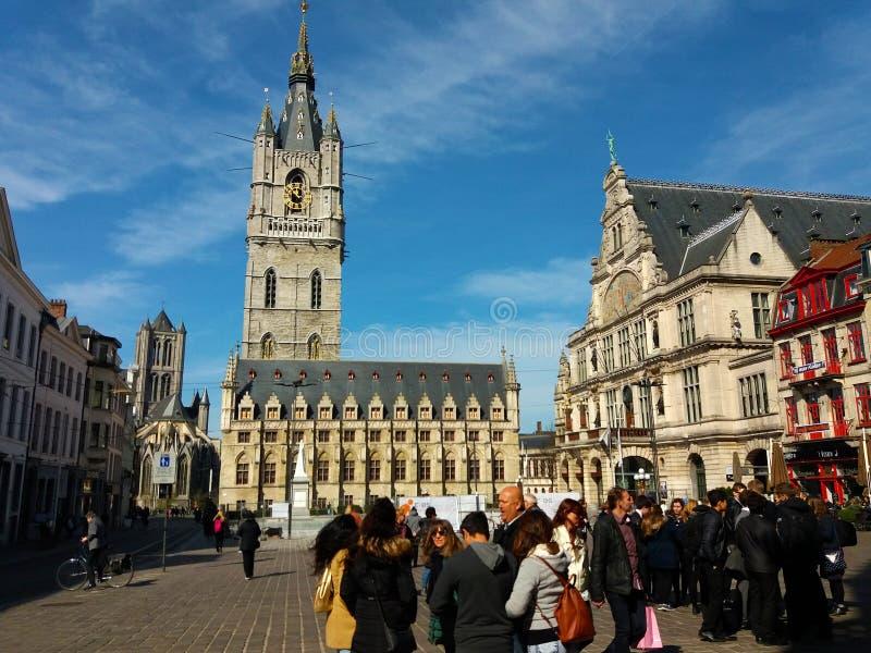 绅士,比利时03 25 2017个游人在跟特的老市中心 免版税库存照片