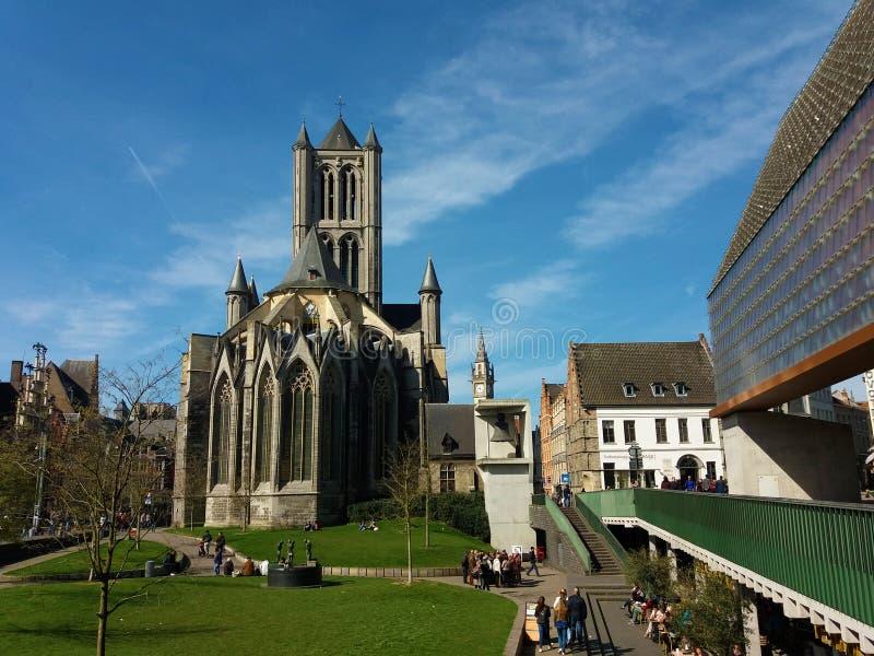 绅士,比利时03 25 2017年圣尼古拉斯教会Sint-Niklaaskerk在跟特的历史市中心 免版税库存图片