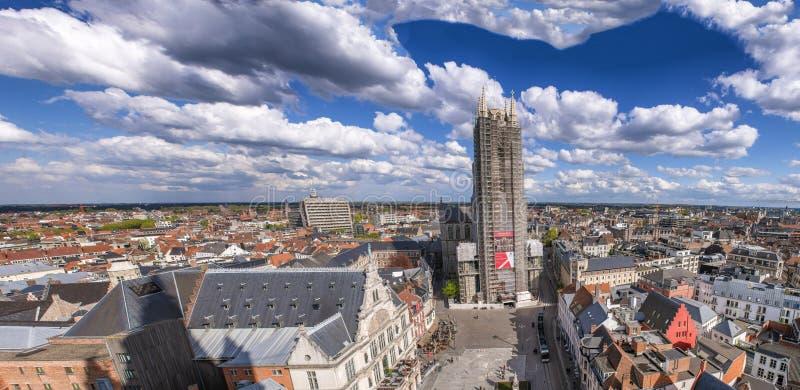 绅士,比利时- 2015年3月:Panoramc空中市视图 绅士attr 免版税图库摄影