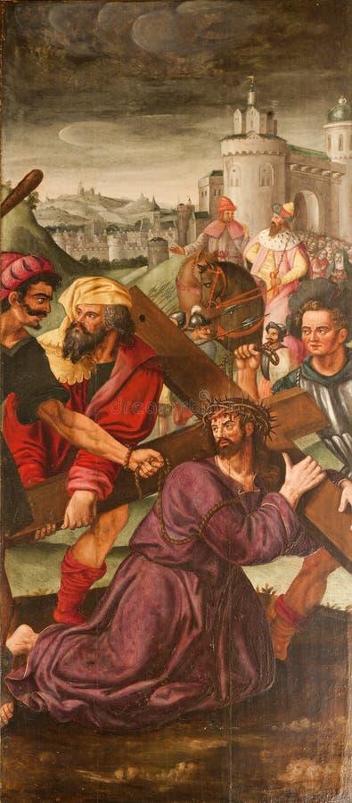 绅士-在交叉的st. Basf s大教堂之下的耶稣 免版税库存照片