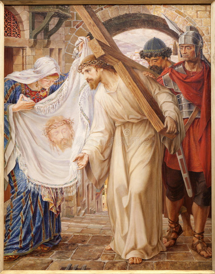 绅士-耶稣和Veronica。 油漆在圣皮特s教会 图库摄影