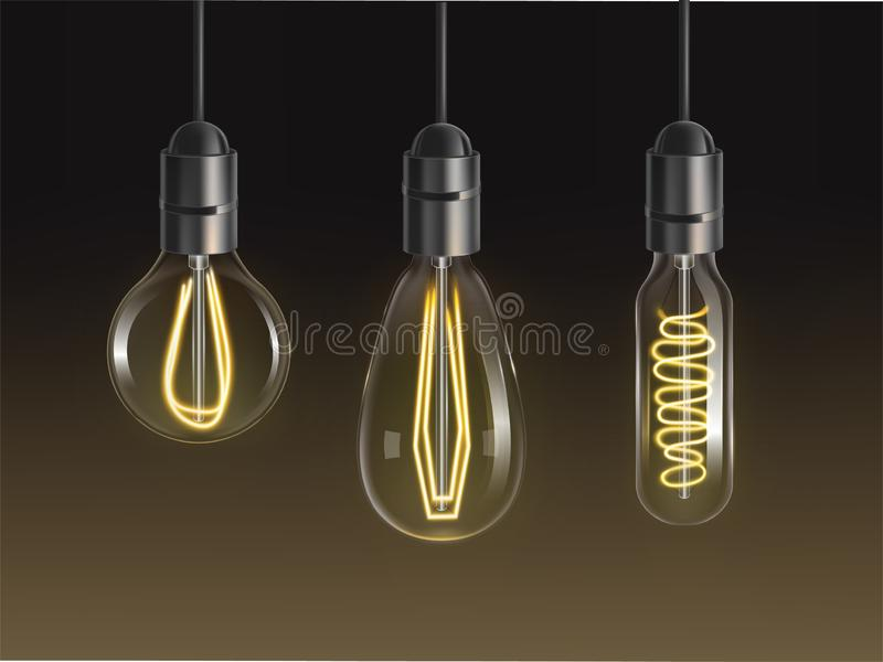 细丝电灯泡集合 发光的减速火箭的爱迪生灯 皇族释放例证