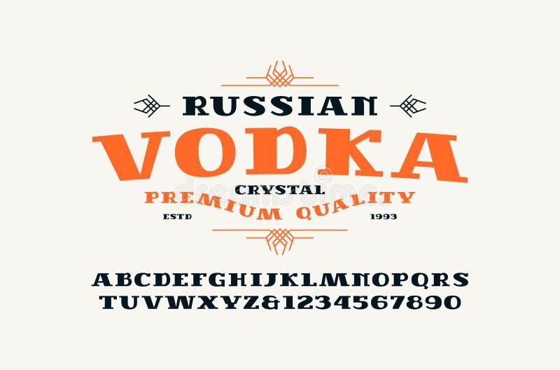 细体字体和伏特加酒标签 库存例证