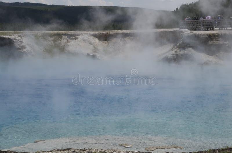 细刨花喷泉火山口黄石公园 库存图片