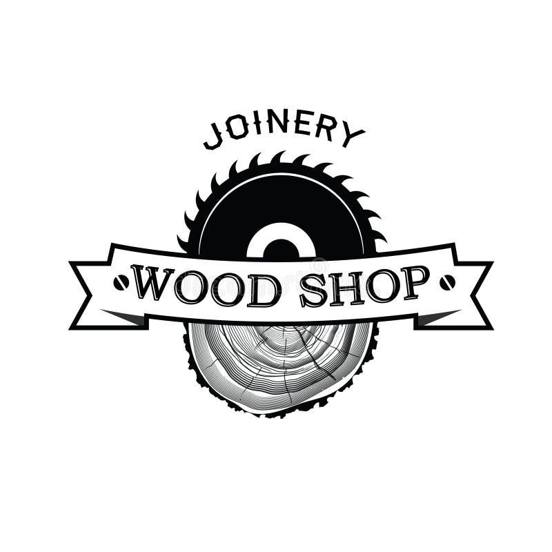 细木工技术和手工制造象征、标签、徽章和设计元素 库存例证