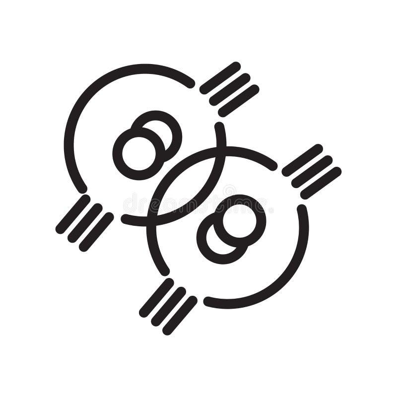 细胞在白色背景、细胞标志、线标志或在概述样式的线性元素设计隔绝的象传染媒介 皇族释放例证