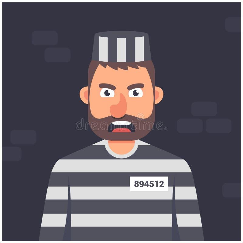 细胞的囚犯 镶边制服 在黑暗的字符 向量例证