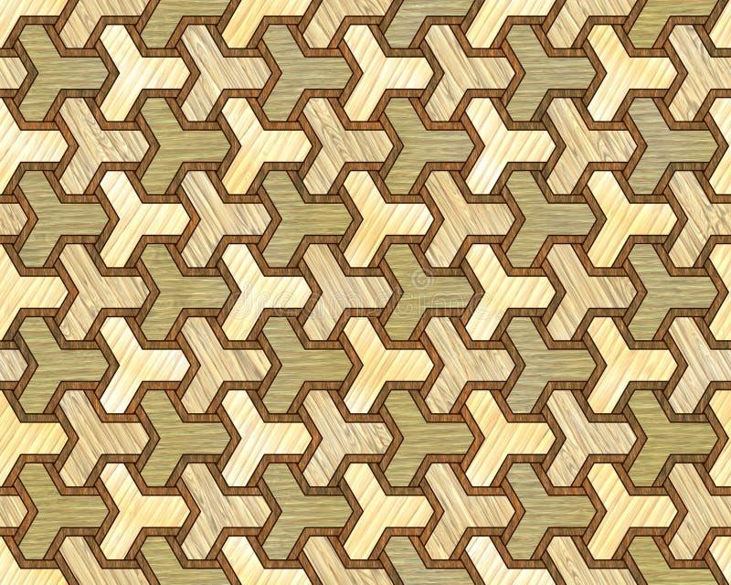 细致的镶嵌细工模式无缝的纹理木头 库存例证