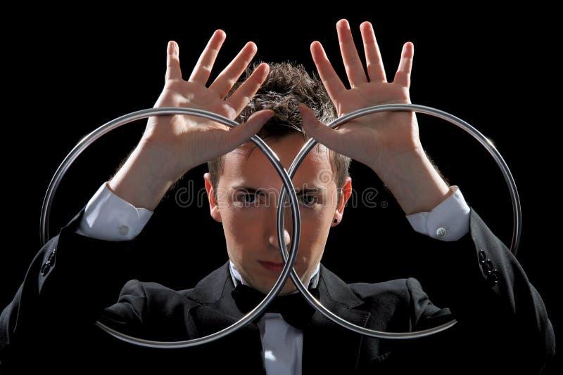 细致的魔术师年轻人 免版税库存照片
