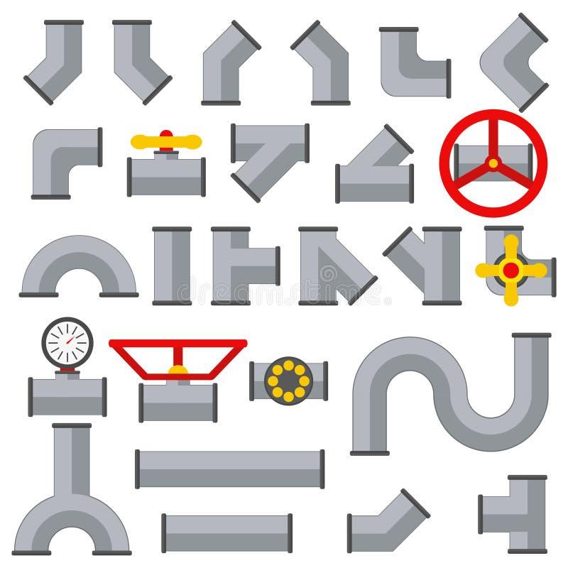 细节管子汇集水管集合连接点连接器 不同的类型产业排气阀建筑和油 库存例证