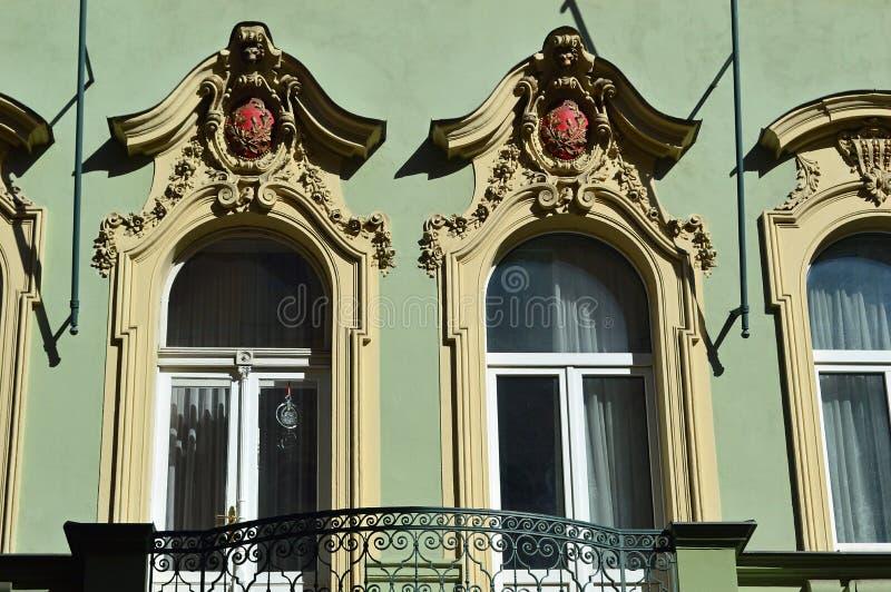 细节美好的城市分裂主义者样式建筑学,布拉格 免版税库存图片