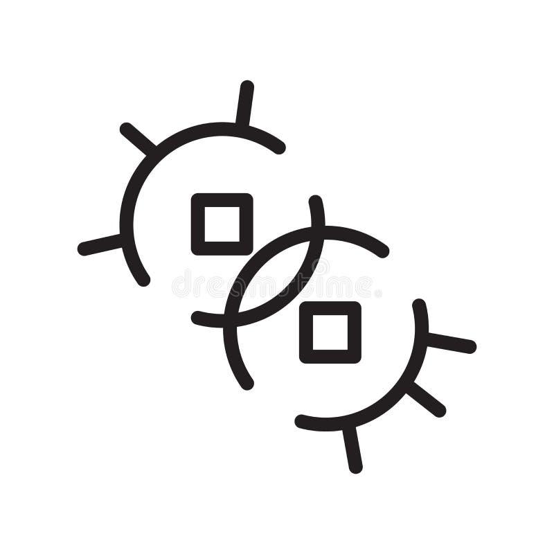 细菌在白色背景隔绝的象传染媒介,细菌签署,排行标志或线性元素设计在概述样式 向量例证