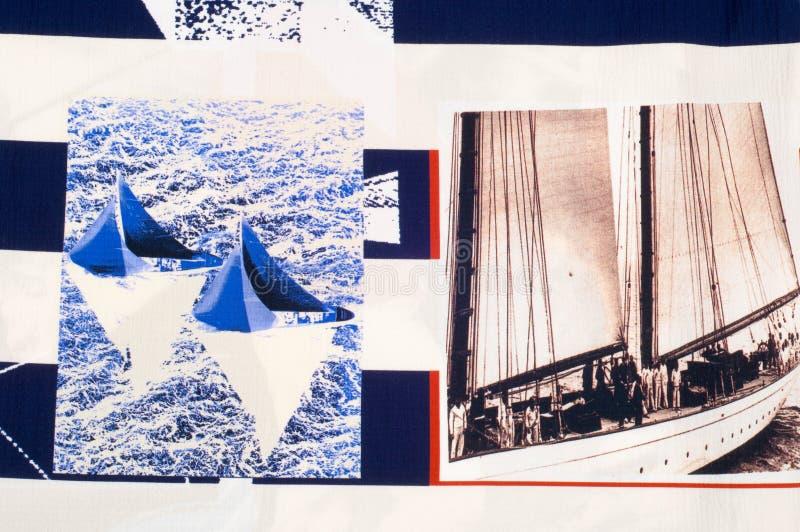 细麻花布织品纹理 在织品绘的海洋题材 库存照片