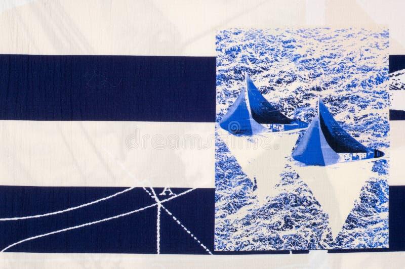 细麻花布织品纹理 在织品绘的海洋题材 免版税库存图片