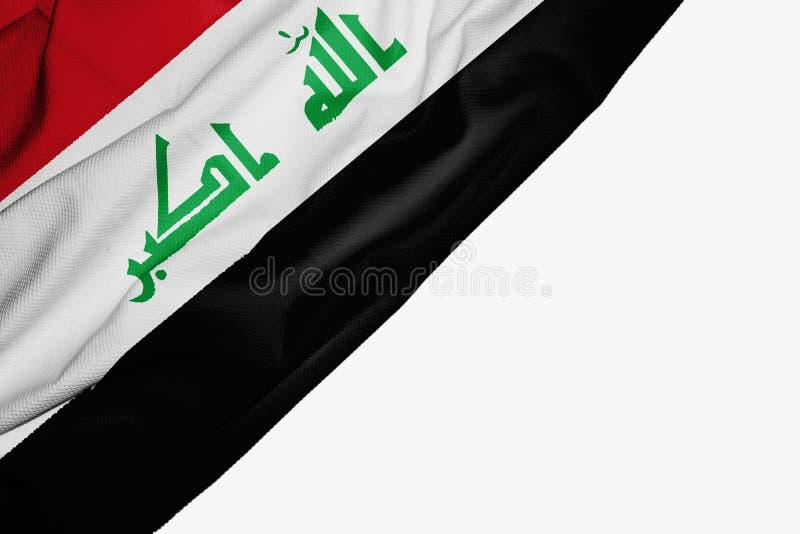 织品伊拉克旗子与copyspace的您的在白色背景的文本的 向量例证