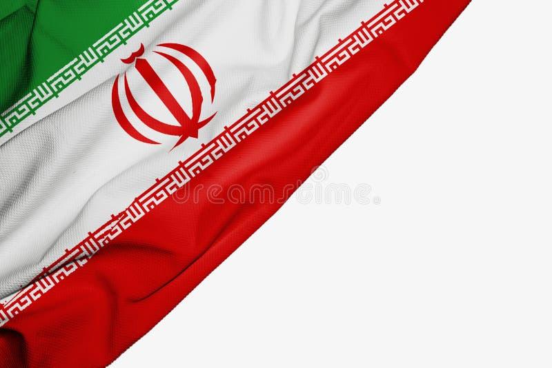 织品伊朗旗子与copyspace的您的在白色背景的文本的 库存例证