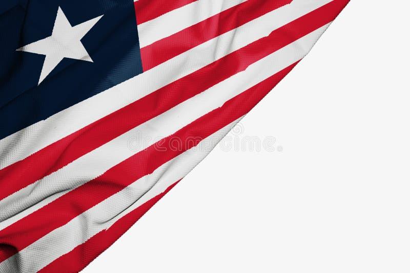 织品利比里亚旗子与copyspace的您的在白色背景的文本的 皇族释放例证