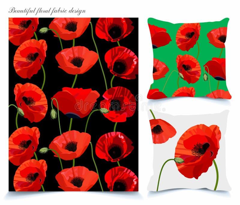 织品和墙纸背景与美丽的鸦片花卉样式 免版税库存照片