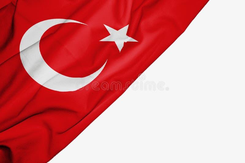 织品土耳其旗子与copyspace的您的在白色背景的文本的 免版税库存照片