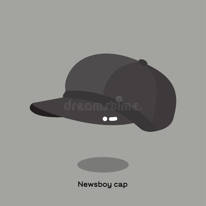 织品在浅灰色的背景的报童盖帽 库存例证