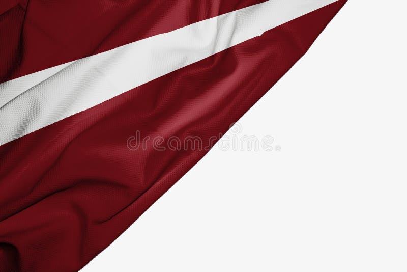织品拉脱维亚旗子与copyspace的您的在白色背景的文本的 向量例证