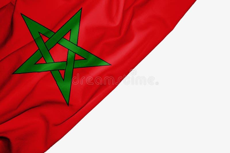 织品摩洛哥旗子与copyspace的您的在白色背景的文本的 皇族释放例证