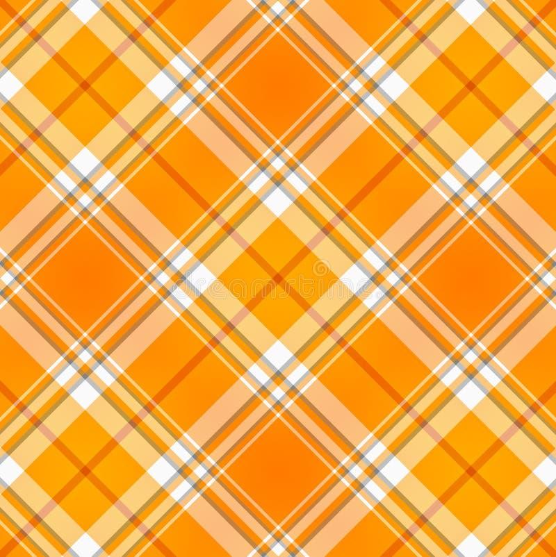 织品橙色格子花呢披肩格子呢 向量例证