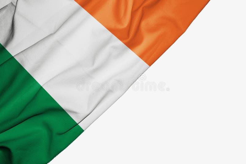 织品爱尔兰旗子与copyspace的您的在白色背景的文本的 向量例证