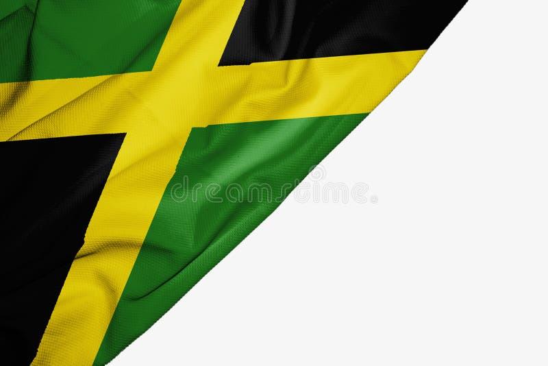 织品牙买加旗子与copyspace的您的在白色背景的文本的 皇族释放例证