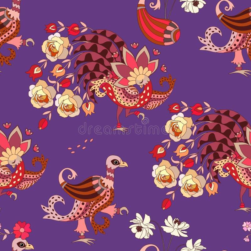 织品的无缝的动物印刷品在种族样式 在淡紫色背景隔绝的幻想鸟 设计开花昆虫夏天向量 库存例证
