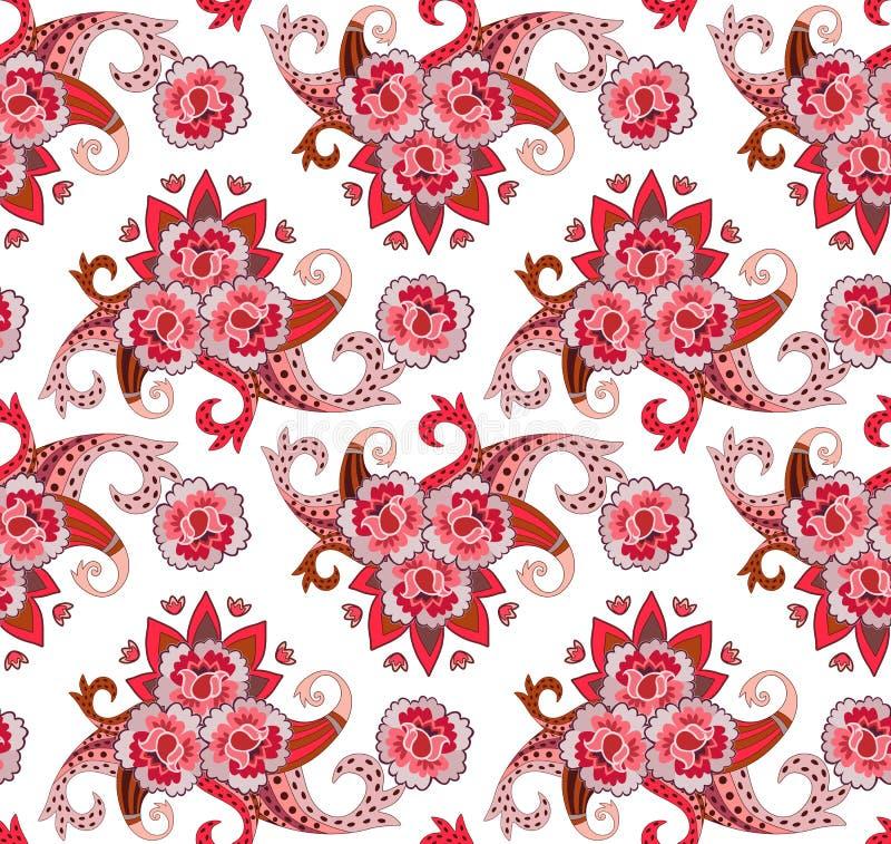 织品的无缝的印刷品在民间样式 被传统化的玫瑰、郁金香和佩兹利白色背景的 印度,土耳其动机 向量 皇族释放例证