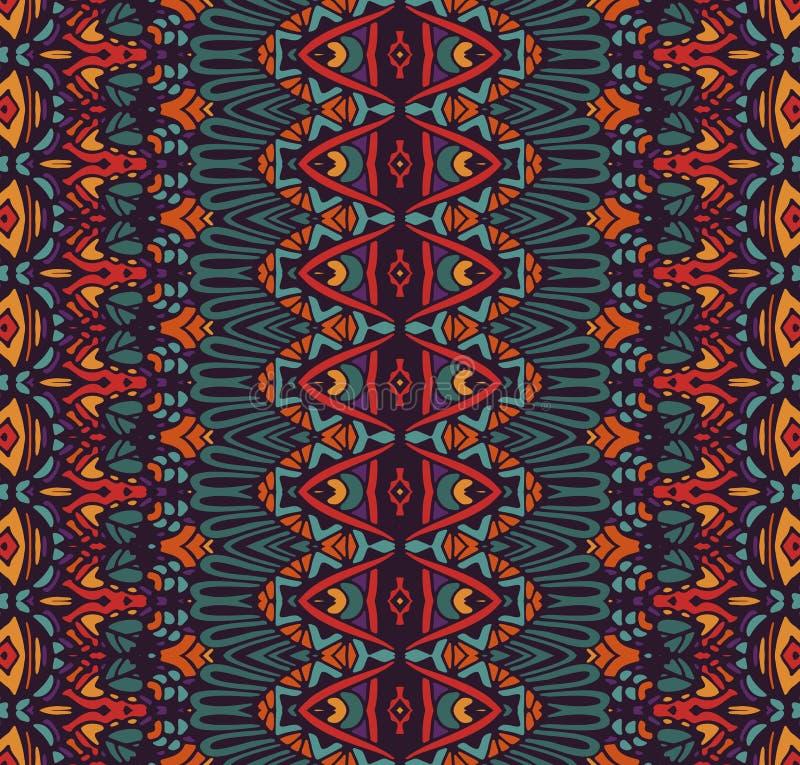 织品的种族部族欢乐样式 抽象几何五颜六色的无缝的样式装饰物 库存例证