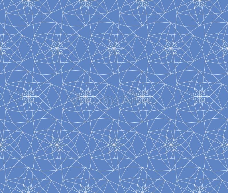 织品的,墙纸白色和蓝色无缝的线性抽象几何格子样式背景,scrapbooking 向量例证