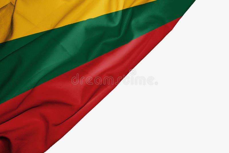 织品立陶宛旗子与copyspace的您的在白色背景的文本的 皇族释放例证