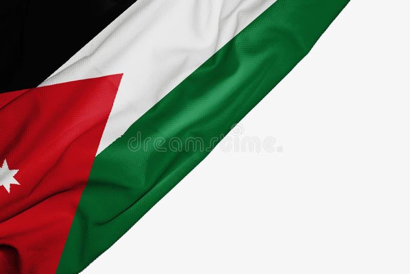 织品约旦旗子与copyspace的您的在白色背景的文本的 库存例证