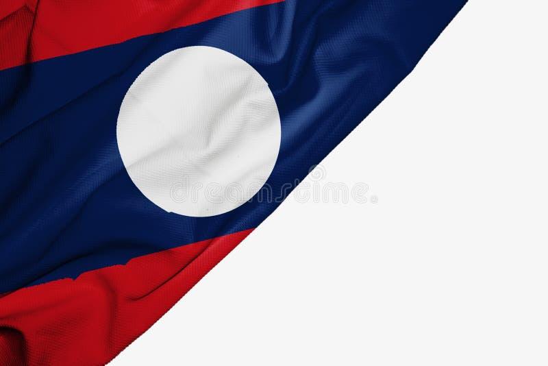 织品老挝旗子与copyspace的您的在白色背景的文本的 皇族释放例证