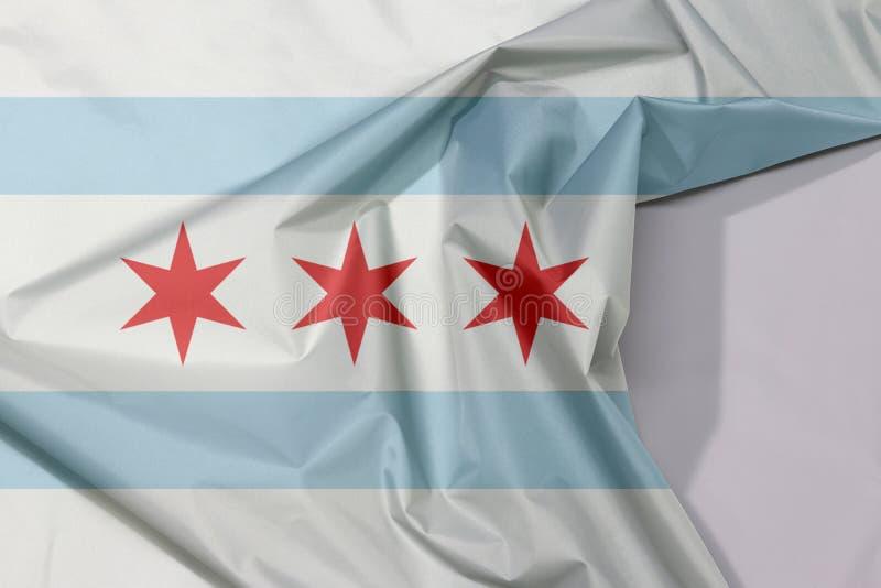 织品芝加哥旗子绉纱和折痕与白色空间,芝加哥是最人口众多的城市在伊利诺伊 库存图片