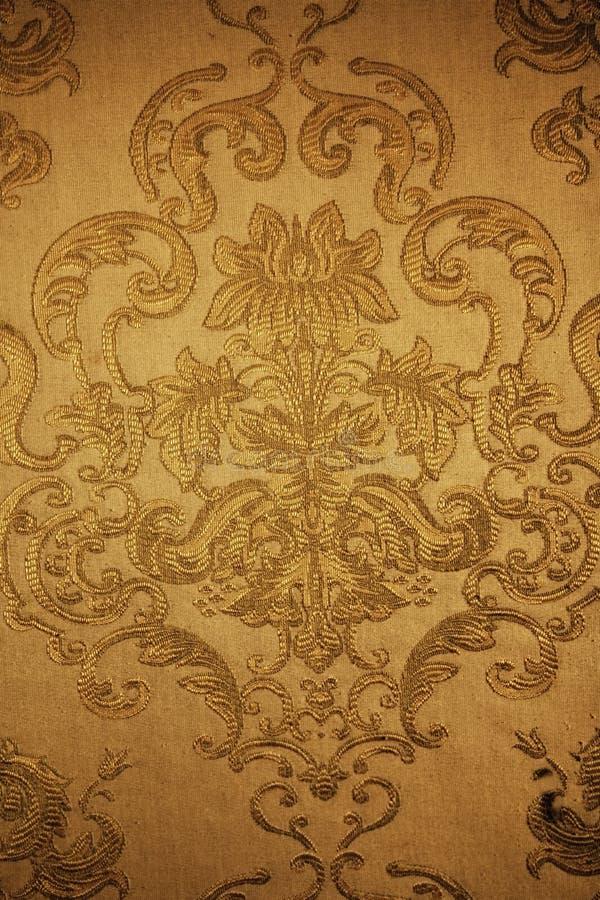 织品花卉金黄模式 库存照片