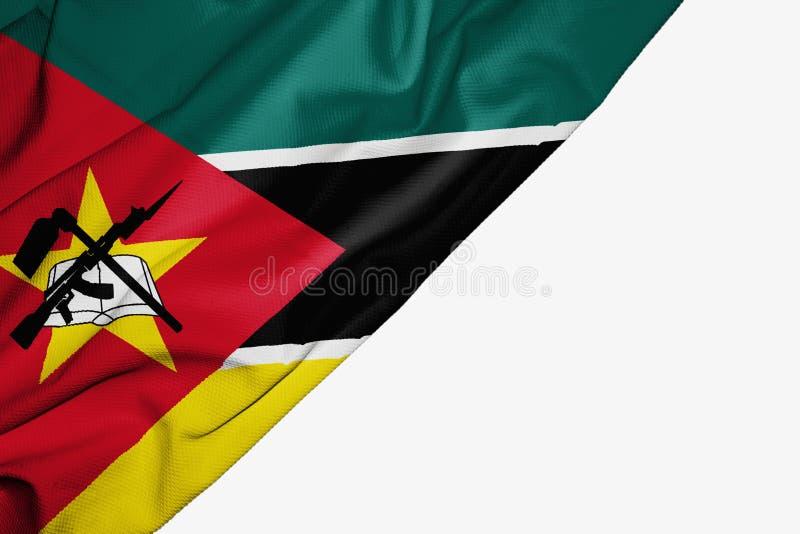织品莫桑比克旗子与copyspace的您的在白色背景的文本的 皇族释放例证