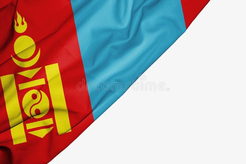 织品蒙古旗子与copyspace的您的在白色背景的文本的 库存例证